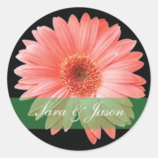 Pink Gerber Daisy on black wedding sticker