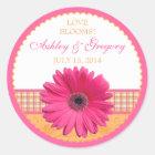 Pink Gerber Daisy Orange Plaid Ribbon Wedding Seal