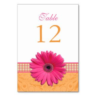 Pink Gerber Daisy Orange Plaid Ribbon Wedding Table Cards