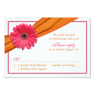 Pink Gerber Daisy Orange Ribbon Wedding RSVP Card
