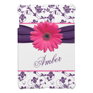 Pink Gerber Daisy Purple Damask Floral Personalize iPad Mini Case