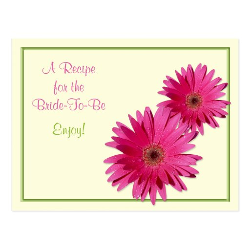 Pink Gerber Daisy Recipe Card for the Bride to Be Post Card