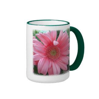 Pink Gerber Daisy Ringer Coffee Mug