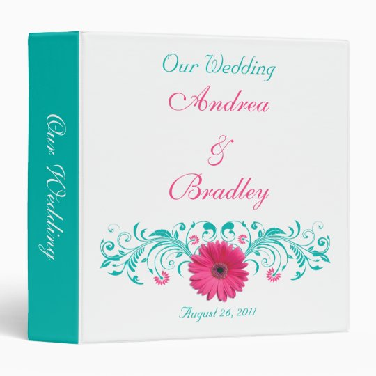 Pink Gerber Daisy Turquoise Floral Wedding Binder