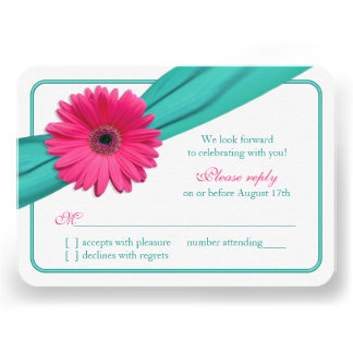 Pink Gerber Daisy Turquoise Ribbon Wedding RSVP Announcements