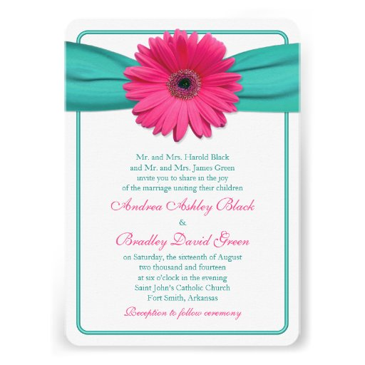 Pink Gerber Daisy Turquoise Wedding Invitation