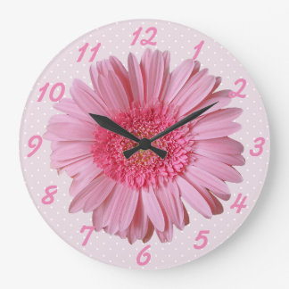 Pink Gerber Daisy Wall Clock