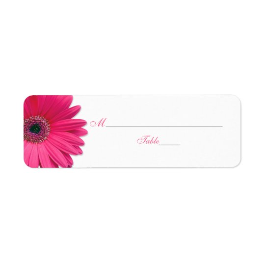Pink Gerber Daisy Wedding Place Card Labels