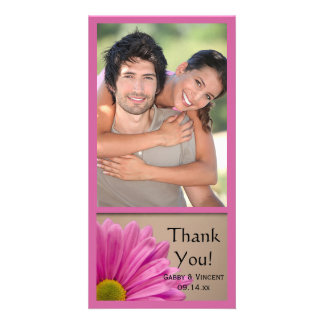 Pink Gerber Daisy Wedding Thank You Photo Card