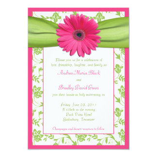 Pink Gerber Green Floral Damask Wedding Invitation