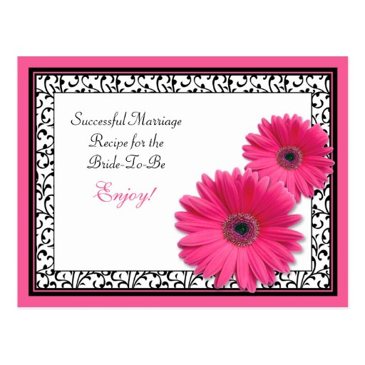 Pink Gerber Recipe Card for a Successful Marriage Postcard