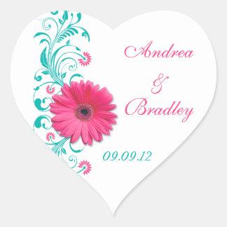 Pink Gerber Turquoise Floral Wedding Envelope Seal Heart Sticker