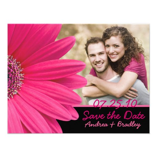 Pink Gerbera Black Photo Save the Date Card
