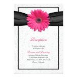 Pink Gerbera Black Ribbon Wedding Reception Insert Personalized Invites