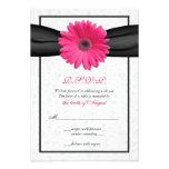 Pink Gerbera Black Ribbon Wedding Reply Card Custom Announcement