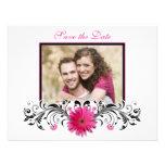 Pink Gerbera Black White Floral Save the Date Card Custom Invites