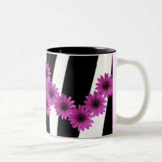 PINK GERBERA DAISIES ON ZEBRA PRINT Two-Tone COFFEE MUG