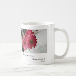 Pink gerbera daisies religious quote coffee cup basic white mug
