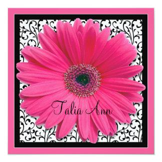 Pink Gerbera Daisy Bat Mitzvah Invitation