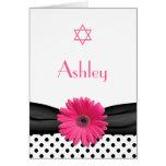 Pink Gerbera Daisy Bat Mitzvah Thank You Card