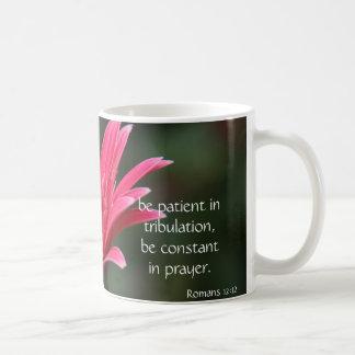 Pink Gerbera Daisy Bible Verse about hope & prayer Basic White Mug