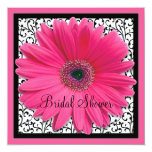 Pink Gerbera Daisy Black Bridal Shower Invitation