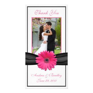 Pink Gerbera Daisy Black Ribbon Wedding Thank You Photo Card Template