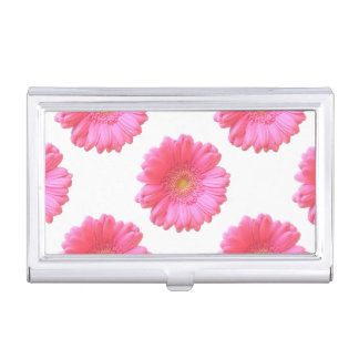 Pink gerbera daisy business card cases