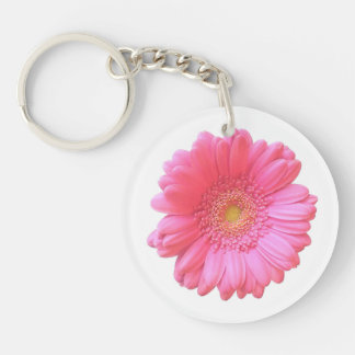 Pink gerbera daisy Double-Sided round acrylic keychain
