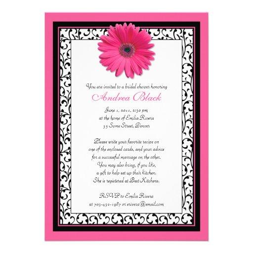Pink Gerbera Daisy Floral Bridal Shower Invitation