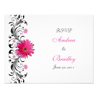 Pink Gerbera Daisy Floral RSVP Reply Card Invitations
