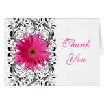 Pink Gerbera Daisy Floral Wedding Thank You Card