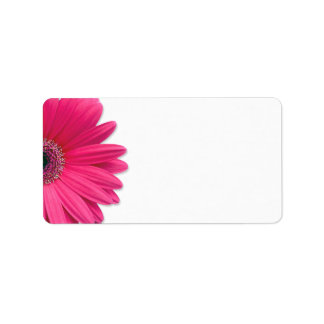 Pink Gerbera Daisy Flower Wedding Blank Address Label
