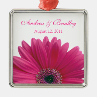 Pink Gerbera Daisy Flower Wedding or Anniversary Metal Ornament