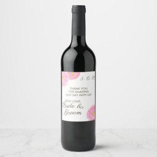 Pink Gerbera Daisy Flower Wedding Wine Label