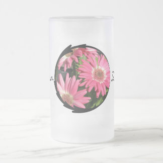 Pink Gerbera Daisy Frosted Glass Beer Mug
