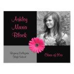 "Pink Gerbera Daisy Funky Photo Graduation 4.25"" X 5.5"" Invitation Card"