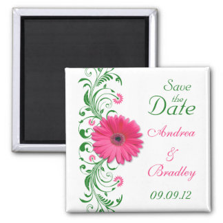 Pink Gerbera Daisy Green Floral Save the Date Magnet