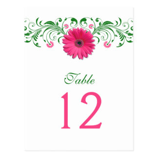 Pink Gerbera Daisy Green Floral Table Number Card