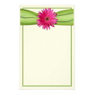 Pink Gerbera Daisy Green Ribbon Stationery