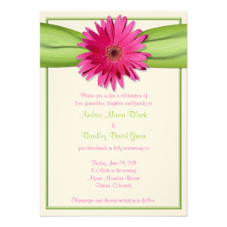 Pink Gerbera Daisy Green Ribbon Wedding Invitation