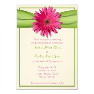 Pink Gerbera Daisy Green Ribbon Wedding Invitation