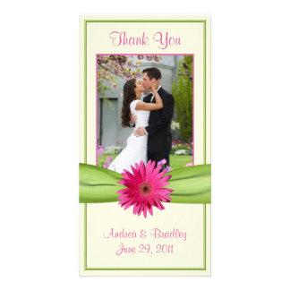 Pink Gerbera Daisy Green Ribbon Wedding Thank You Customized Photo Card