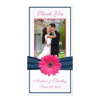 Pink Gerbera Daisy Navy Ribbon Wedding Thank You Photo Cards