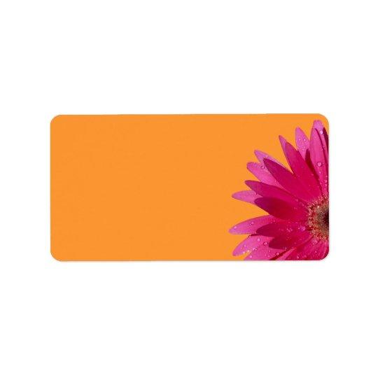 Pink Gerbera Daisy Orange Wedding Blank Address Label