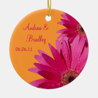 Pink Gerbera Daisy Orange Wedding or Anniversary Ceramic Ornament