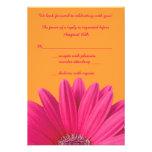 Pink Gerbera Daisy Orange Wedding RSVP Card
