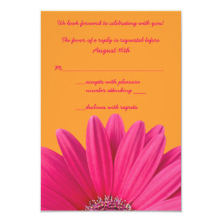 Pink Gerbera Daisy Orange Wedding RSVP Card