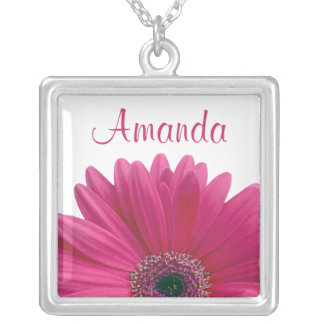 Pink Gerbera Daisy Personalized Necklace