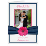 Pink Gerbera Daisy Photo Wedding Thank You Card